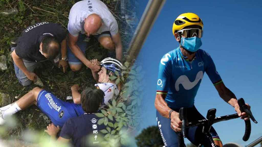 Remco Evenepoel y Alejandro Valverde, en un fotomontaje