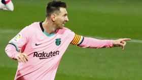 Leo Messi celebra su gol al Valladolid en Zorrilla