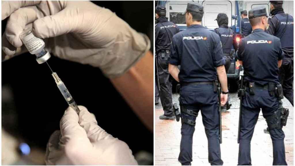 Dosis de la vacuna de Pfizer. A la derecha, agentes de Policía Nacional.
