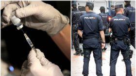 n farmacéutico prepara una dosis contra el coronavirus. A la derecha, agentes de Policía Nacional.