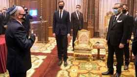 Jared Kushner, yerno de Donald Trump, durante su visita a Marruecos junto a Mohamed VI y a Meir Ben-Shabbat, asesor de Seguridad Nacional de Israel.