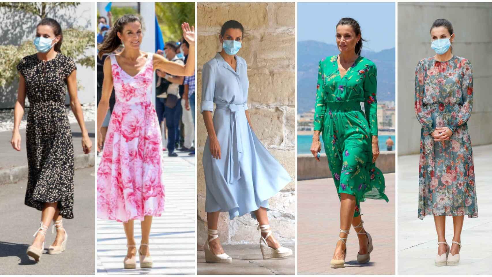 La reina Letizia con algunos de sus estilismos.
