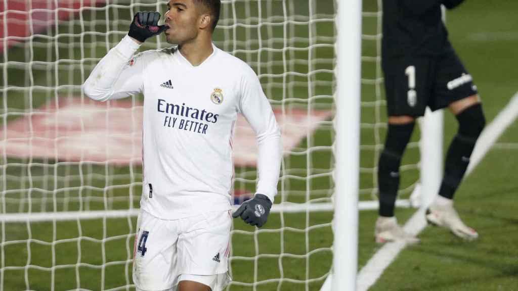 Casemiro celebra su gol al Granada