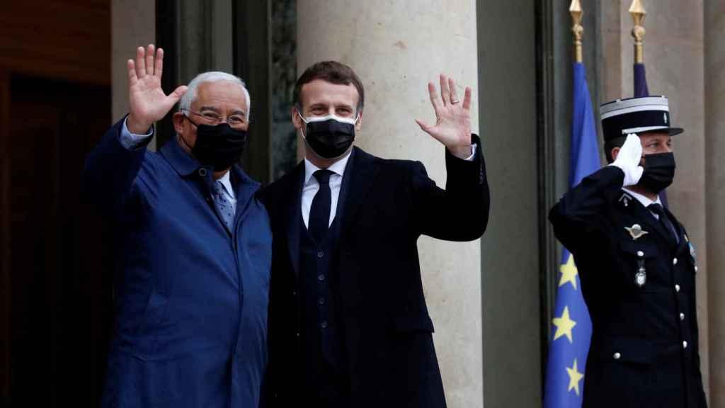 El primer ministro de Portugal, Antonio Costa, durante su encuentro con el presidente francés, Emmanuel Macron.