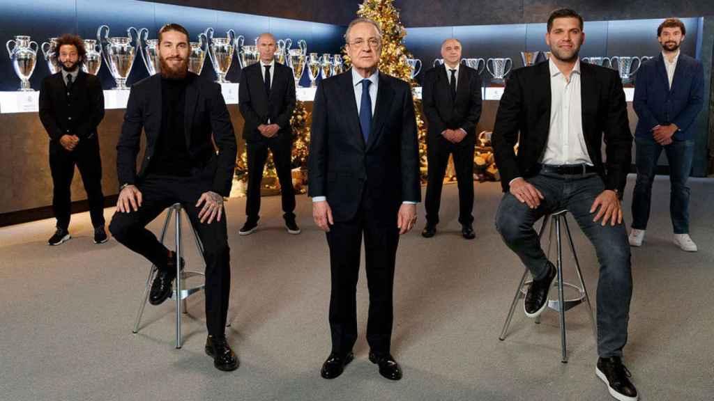Sergio Ramos, Florentino Pérez, Felipe Reyes, los entrenadores y los segundos capitanes del Real Madrid