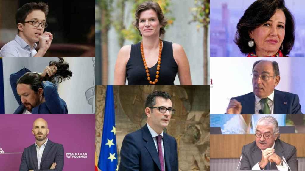 Íñigo Errejón, Pablo Iglesias, Nacho Álvarez, Mariana Mazzucato, Feliz Bolaños, Ana Botín, Ignacio Galán y José Bogas.