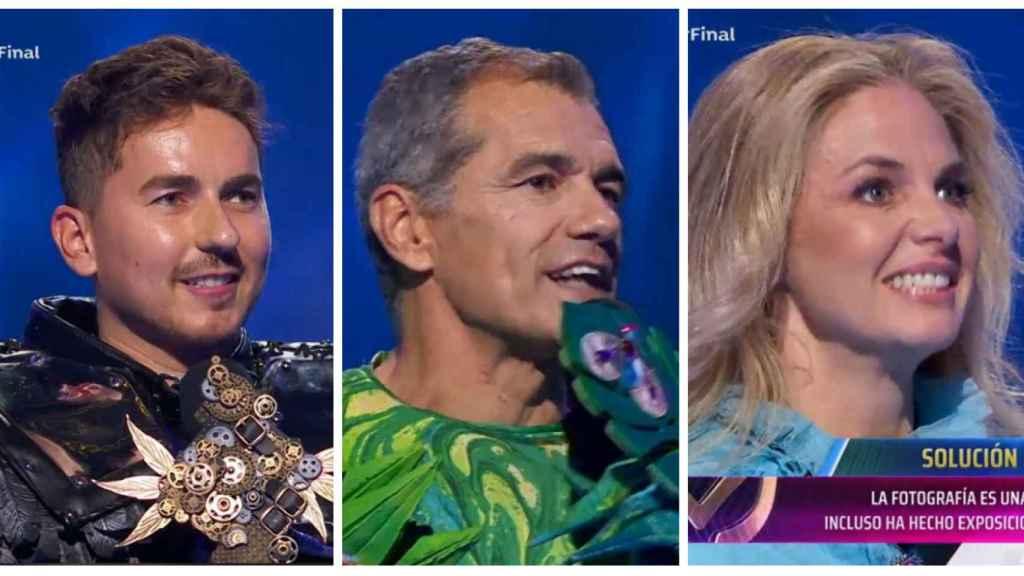 Jorge Lorenzo (Cuervo), Toni Cantó (Camaleón), y Genoveva Casanova (Caniche) en montaje de JALEOS.