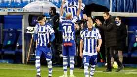 Dyverson celebra su gol ante el Eibar