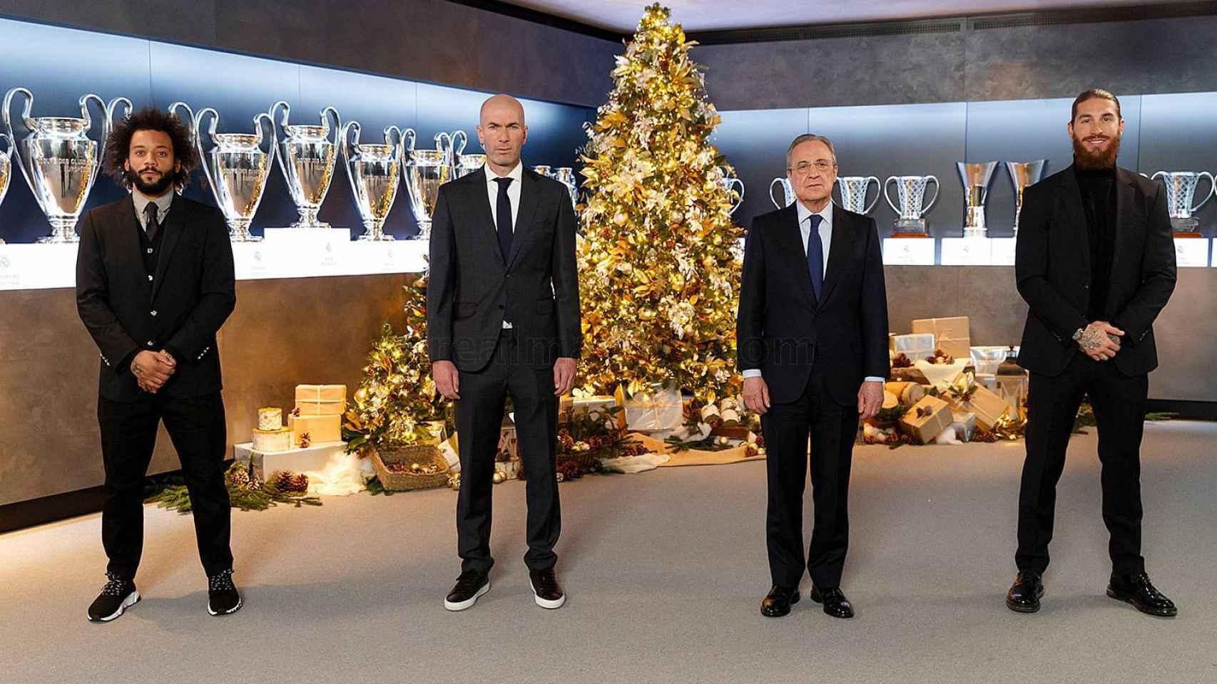 Marcelo, Zinedine Zidane, Florentino Pérez y Sergio Ramos