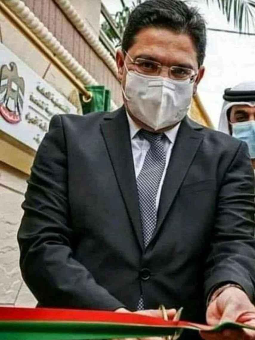 Nasse Bourita, ministro de Asuntos Exteriores de Marruecos, inaugurando un consulado en el Sáhara Occidental.