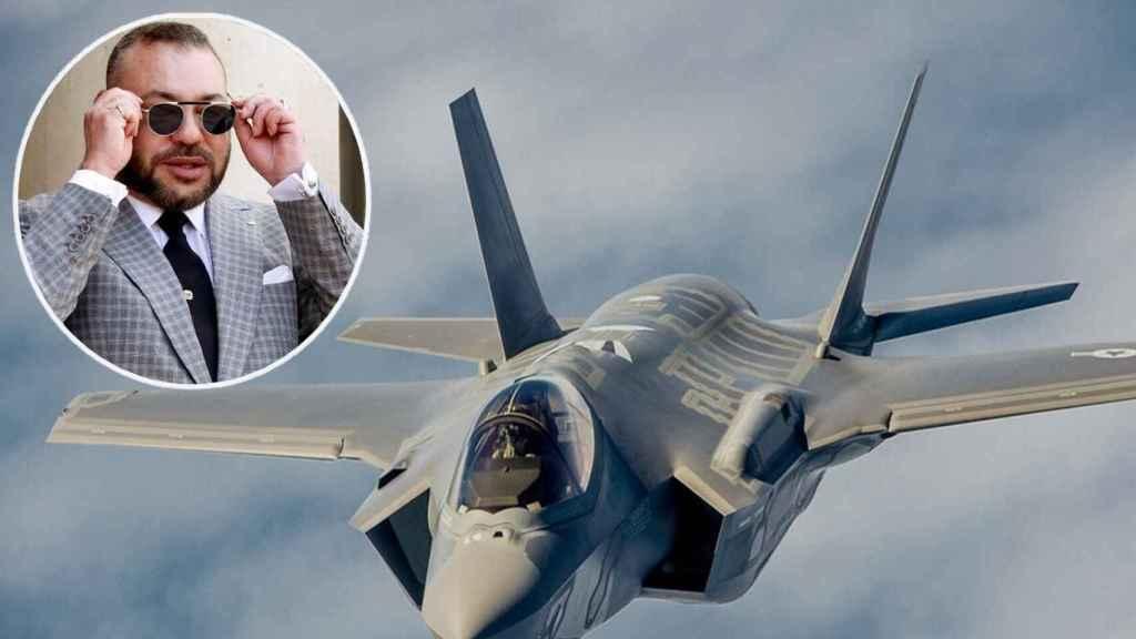 Un caza F-35 y el rey de Marruecos, Mohamed VI.