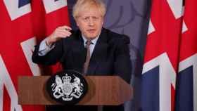 Boris Johnson durante la rueda de prensa del anuncio del acuerdo con la UE.