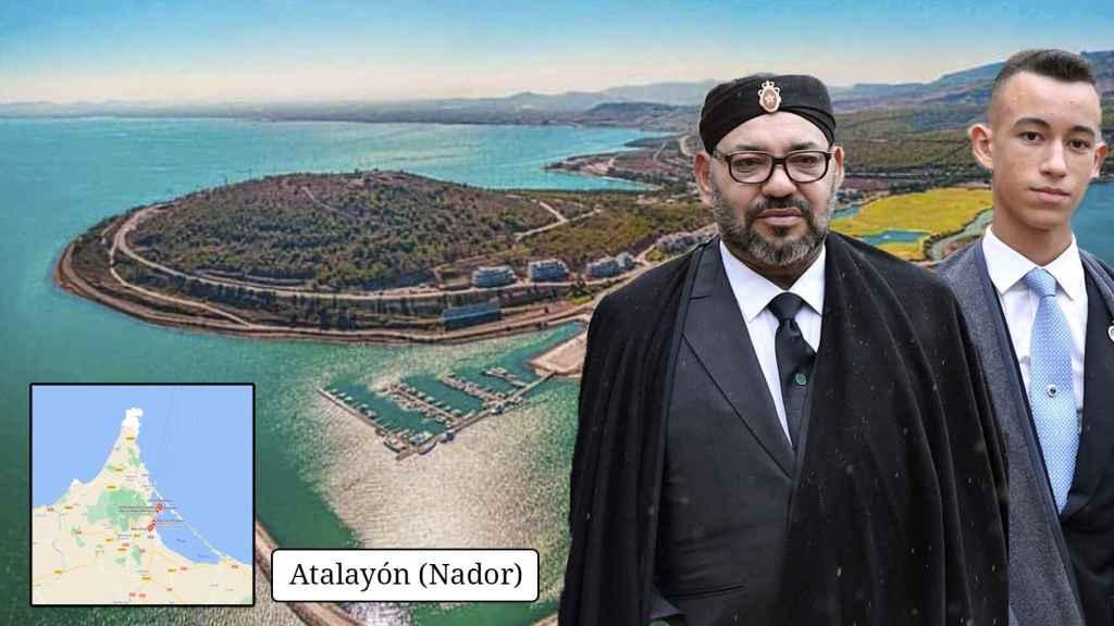 Mohamed VI y Moulay Hassan y el cerro de Atalayón (Nador), que domina la laguna del Mar Chica.