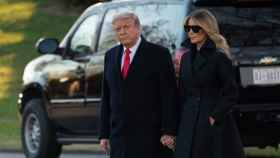 Donald Trump junto a su mujer en su última aparición conjunta en la Casa Blanca.