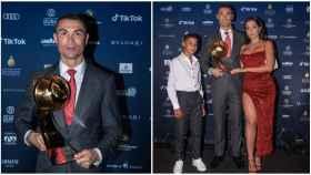Cristiano Ronaldo y su familia, en la gala de los Globe Soccer Awards