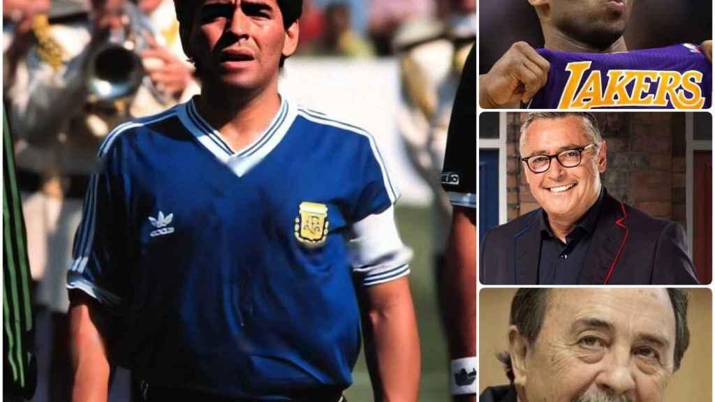 Collage fotográfico con Maradona, Kobe Bryant, Michael Robinson y Juan de Dios Román