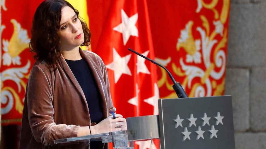 Isabel Díaz Ayuso, durante la rueda de prensa balance de 2020.
