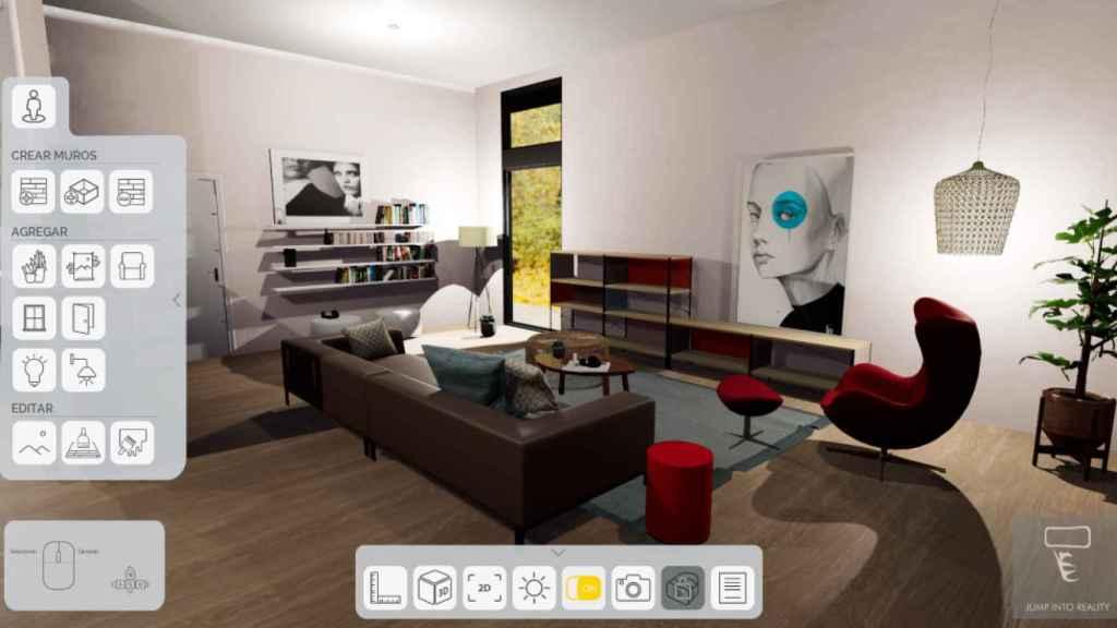 Captura de la interfaz de la herramienta de realidad virtual de Jump into Reality.