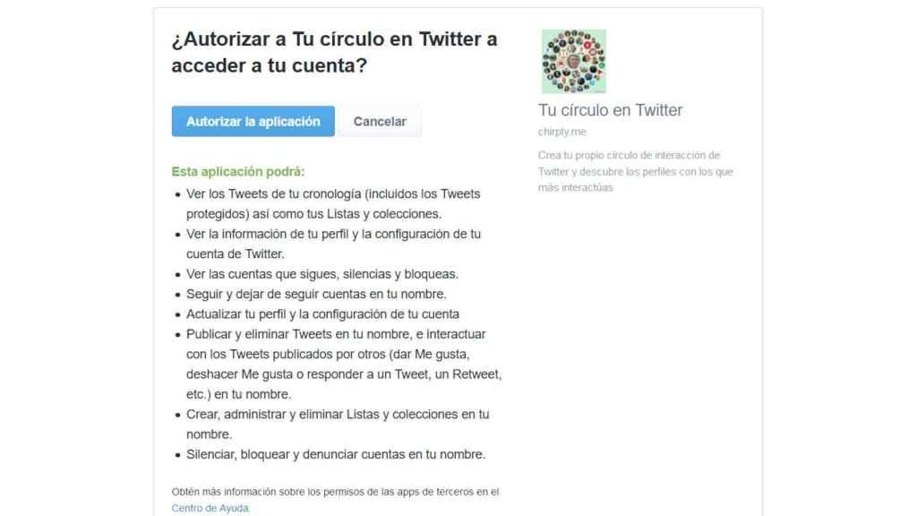 Los permisos que pide la app de Círculo de amigos de Twitter