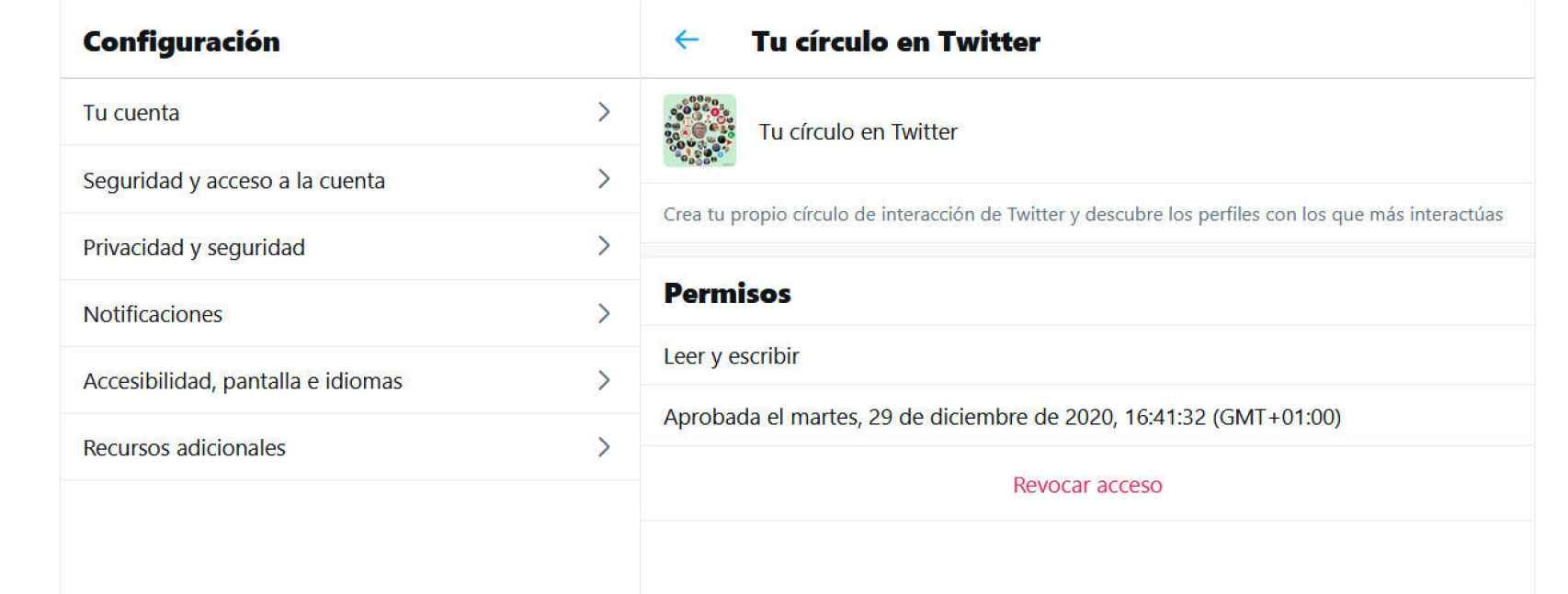 Opción para revocar el acceso a la app Círculo de amigos de Twitter