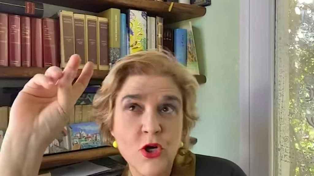 Rahola durante su intervención en vídeo para contestar a Forqué.
