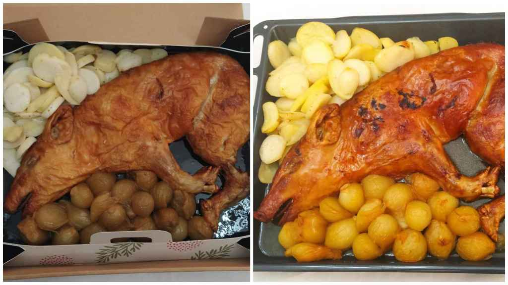 El cochinillo de Mercadona antes y después de pasar por el horno durante 30 minutos.