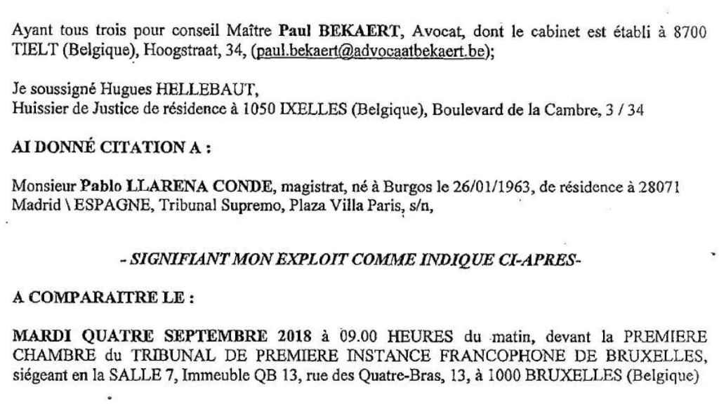 Citación dirigida al juez Llarena por un tribunal belga./