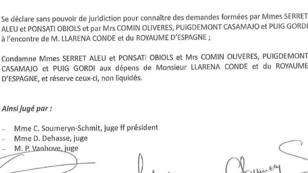Fallo del tribunal belga./