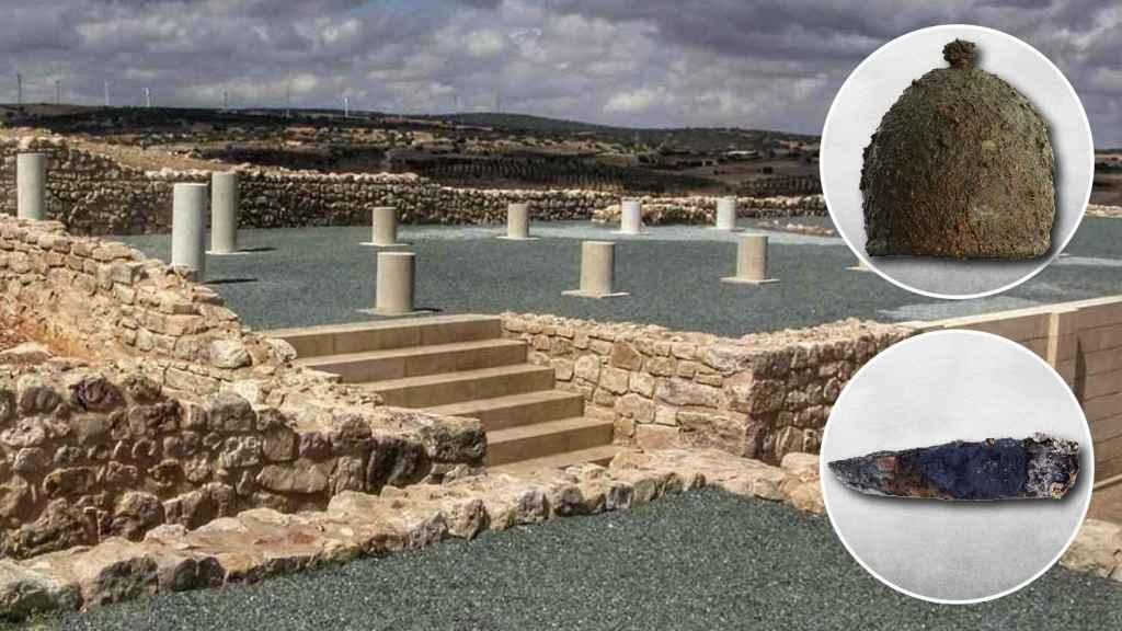 Casco de hierro de tipo genérico Montefortino y una lámina triangular de hierro de 21 centímetros encontrado en el yacimiento.