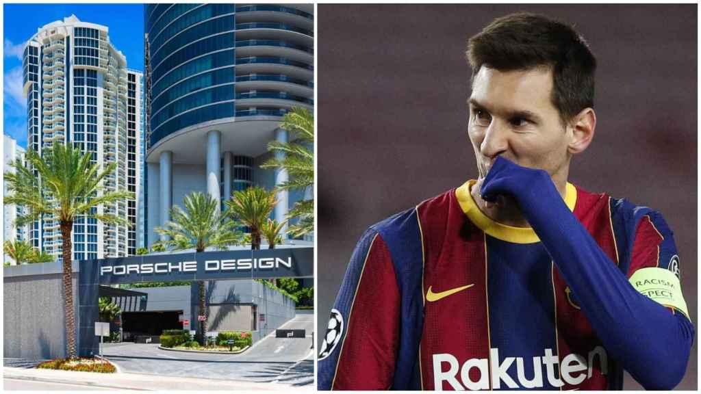 Messi y el edificio Porsche