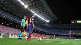 Leo Messi, en el Camp Nou vacío por el coronavirus