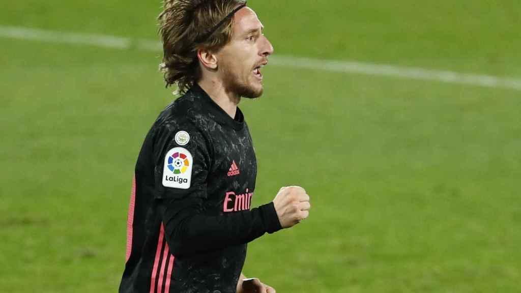 Luka Modric celebra su gol al Elche