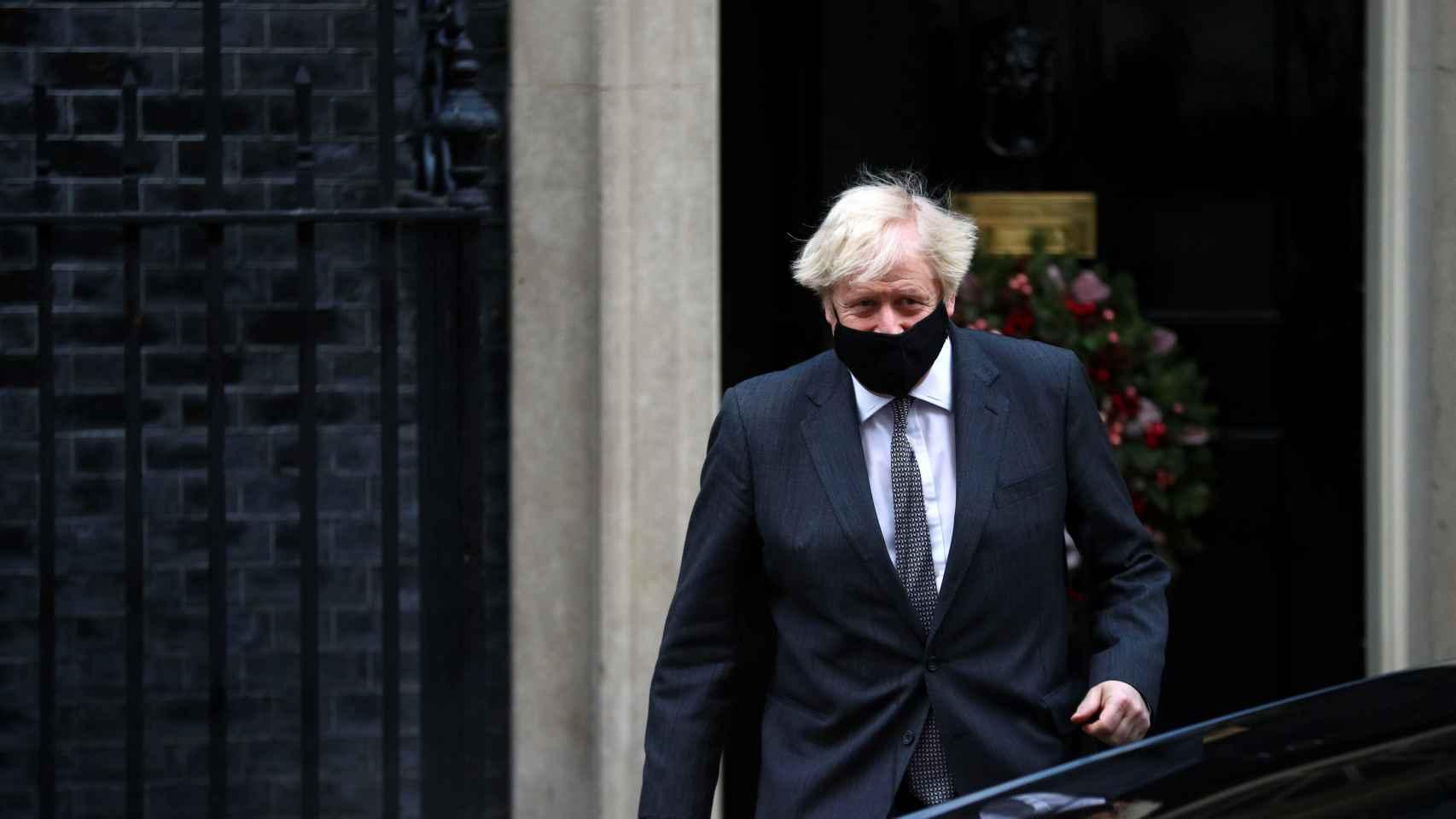 Boris Johnson, a la salida de Downing  Street.