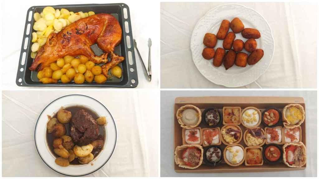 De arriba a abajo y de izquierda a derecha: medio cochinillo asado con guarnición, croquetas, carrillada en salsa de vino tinto y los 18 canapés.