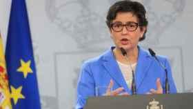 Arancha González Laya, este jueves durante su rueda de prensa en La Moncloa.