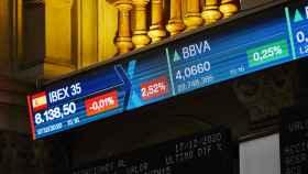 Valores del Ibex 35 en la Bolsa de Madrid el pasado 17 de diciembre de 2020.