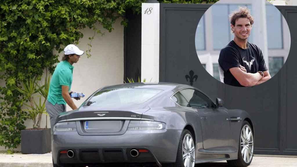 Rafa Nadal con el Aston Martin DBS en una foto de archivo.