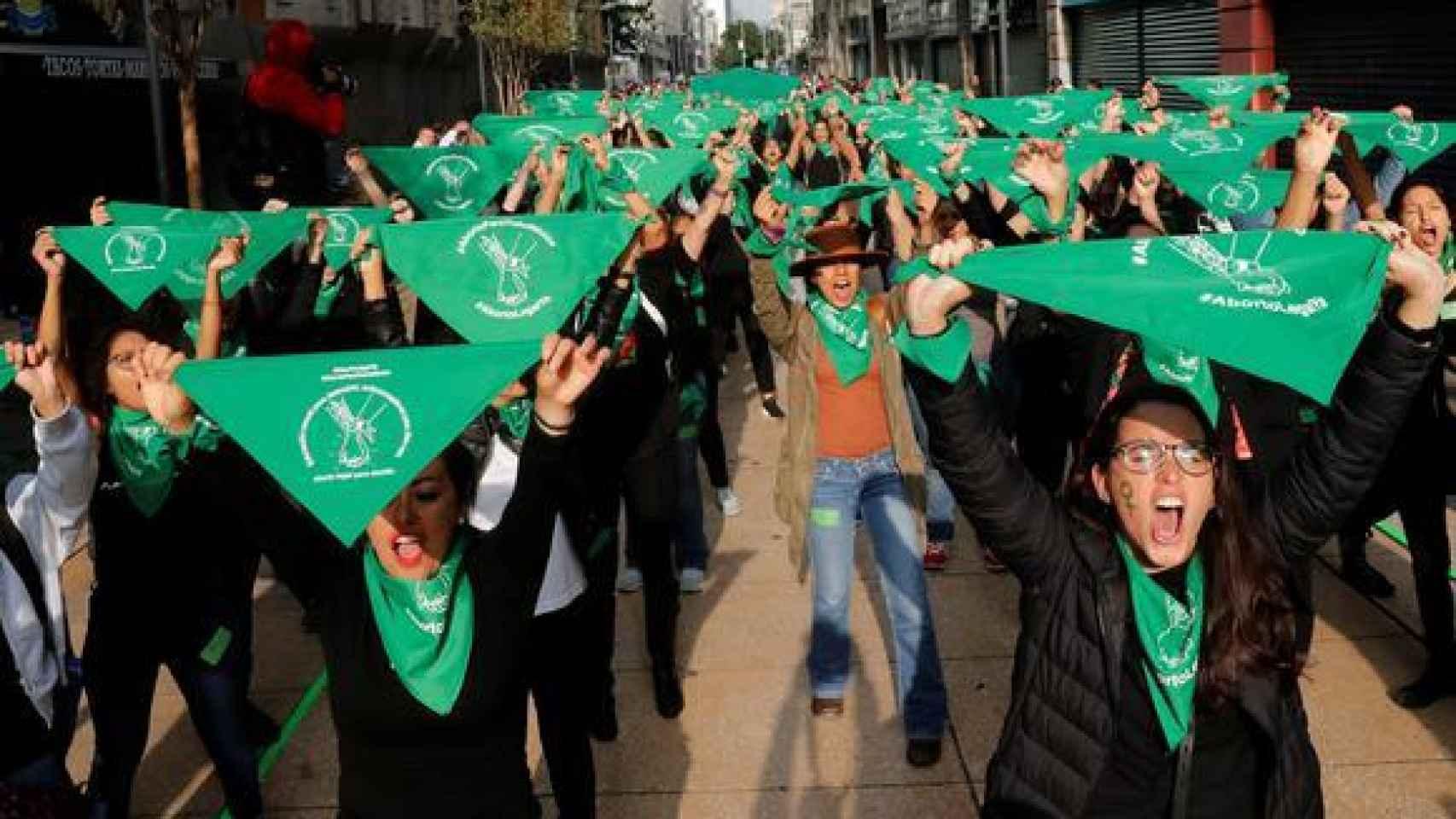 Activistas de 'Marea Verde' en México, durante una manifestación en 2019.