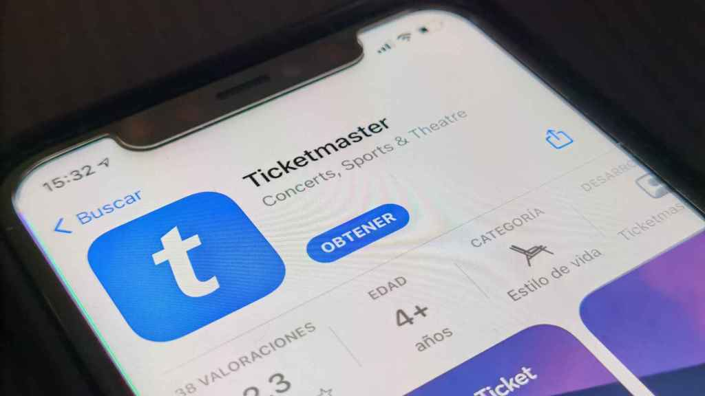 La app de Ticketmaster, en la App Store