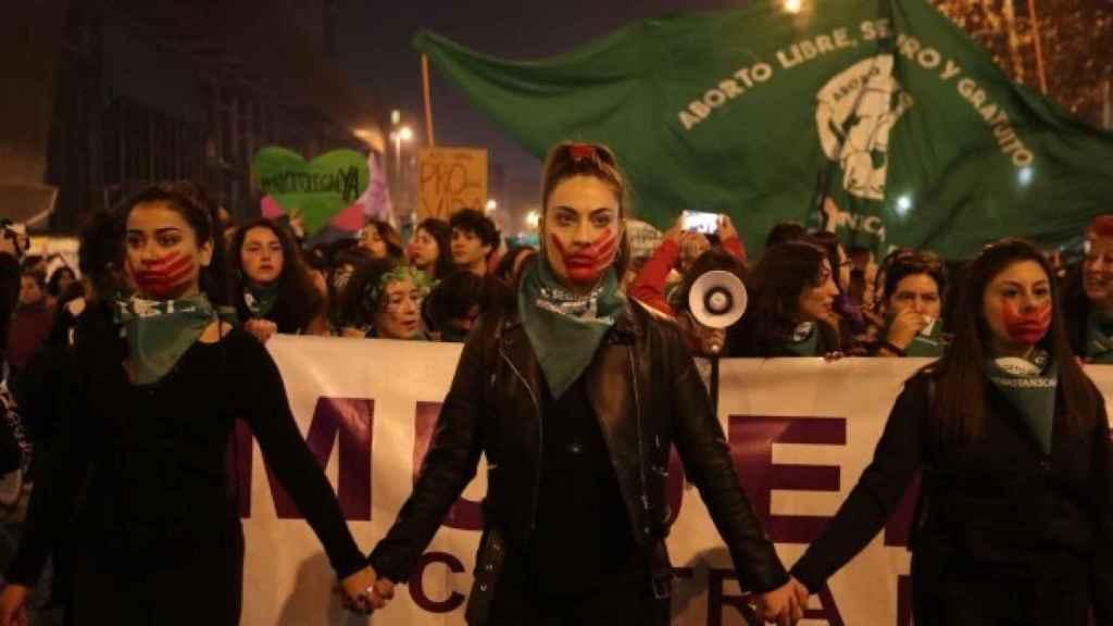 Imagen de archivo de una manifestación a favor del aborto en Chile.