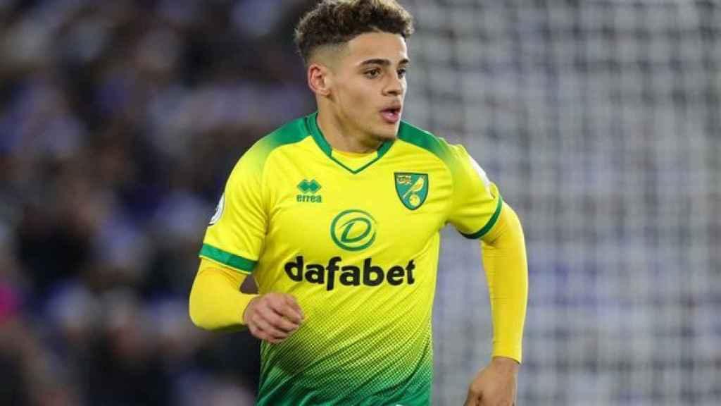 Max Aarons, en un partido del Norwich