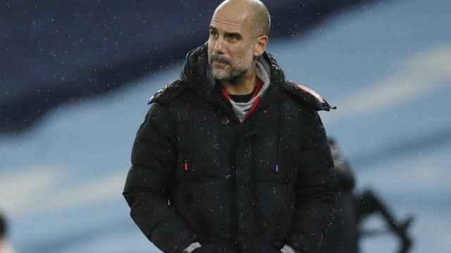 Pep Guardiola, en un partido del Manchester City de la temporada 2020/2021
