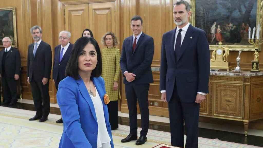 La ministra de Función Pública, Carolina Darias, durante su toma de posesión.