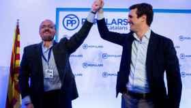 Pablo Casado junto a Alejandro Fernández, candidato del PP en Cataluña.