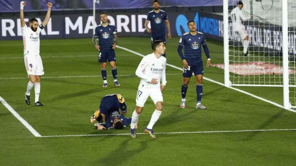 Lucas Vázquez celebra su gol al Celta de Vigo