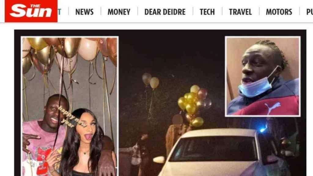 La portada digital de The Sun con la información de Benjamin Mendy y su fiesta ilegal
