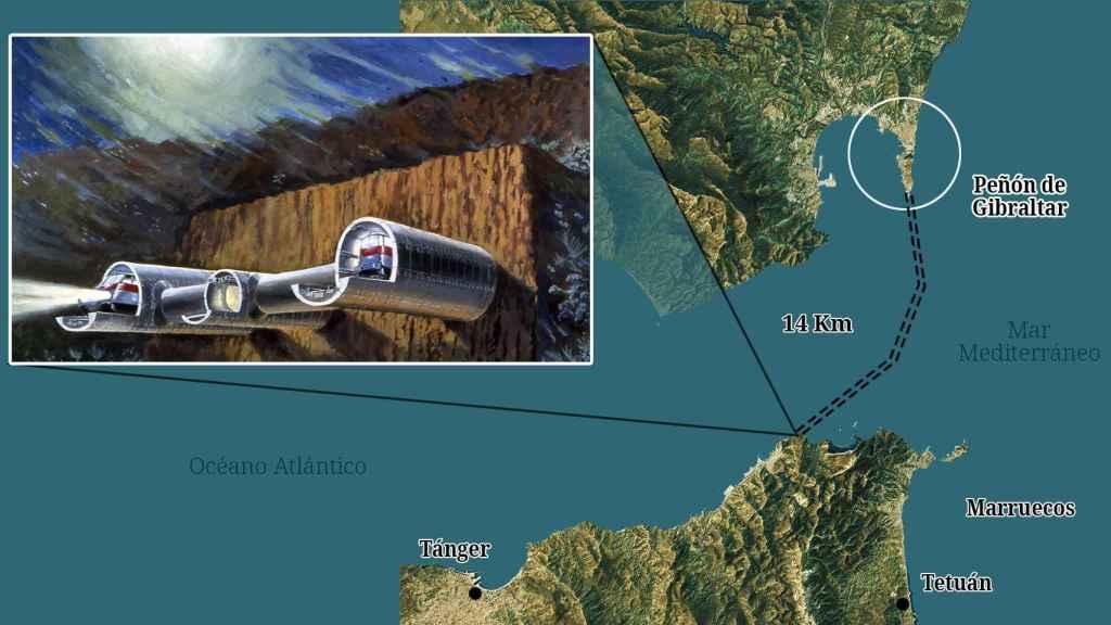 lustración del posible túnel bajo el estrecho de Gibraltar.