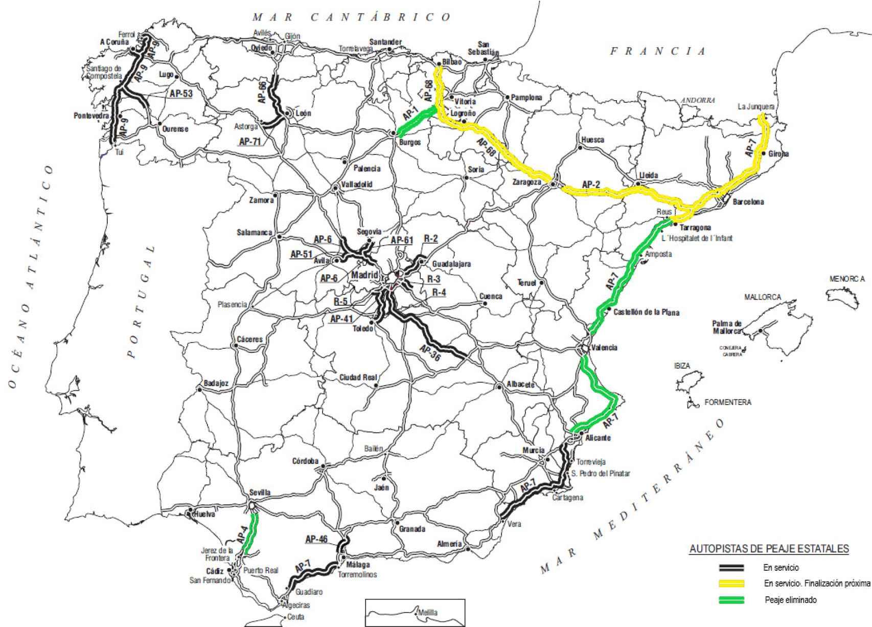 Mapa de las actuales autopistas de peaje en España.