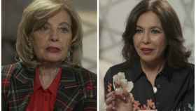 Teresa Campos e Isabel Gemio en montaje de JALEOS durante la entrevista.