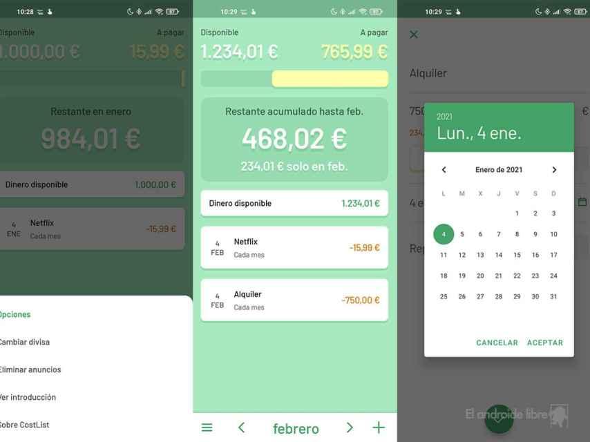 Una app sencilla para llevar el control de gastos: CostList